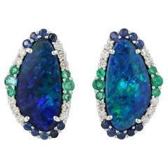 4.62 Carat Opal Emerald Diamond 18 Karat Gold Stud Earrings