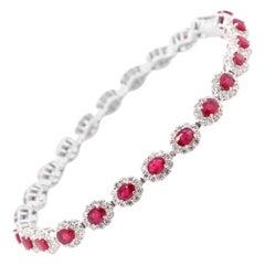 4.62 Carats, Natural Rubies and Diamond Tennis Bracelet Set in Platinum