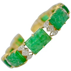 46.26 Carat Carved Emerald and Diamond Link Bracelet