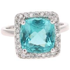 4.63 Carat Apatite Diamond Ring 14 Karat White Gold Ring