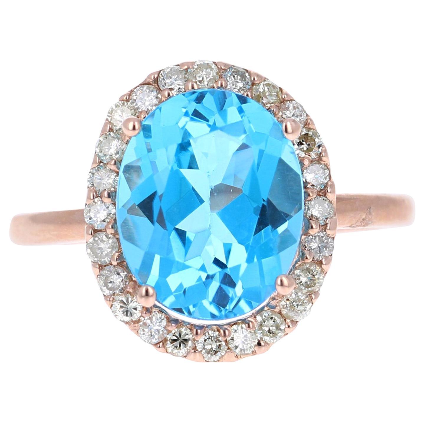 4.63 Carat Blue Topaz Diamond Rose Gold Cocktail Ring