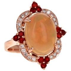 4.63 Carat Oval Cut Opal Diamond 14 Karat Rose Gold Cocktail Ring