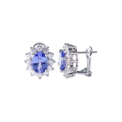 4.63 Carat Oval Cut Tanzanite and Diamond Earrings in 18 Karat White Gold