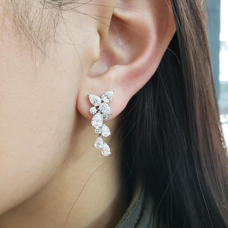 Pear Cut 4.63 Carat Pear Shape Diamond Drop Earrings For Sale