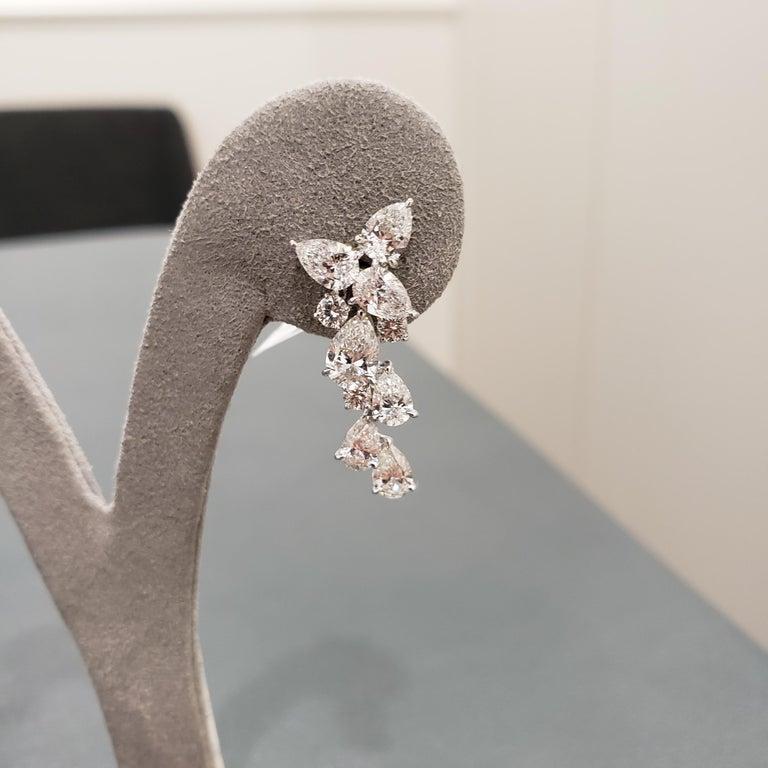 Women's 4.63 Carat Pear Shape Diamond Drop Earrings For Sale