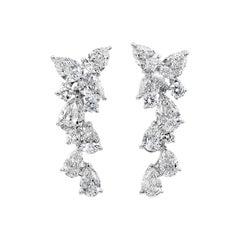 4.63 Carat Pear Shape Diamond Drop Earrings