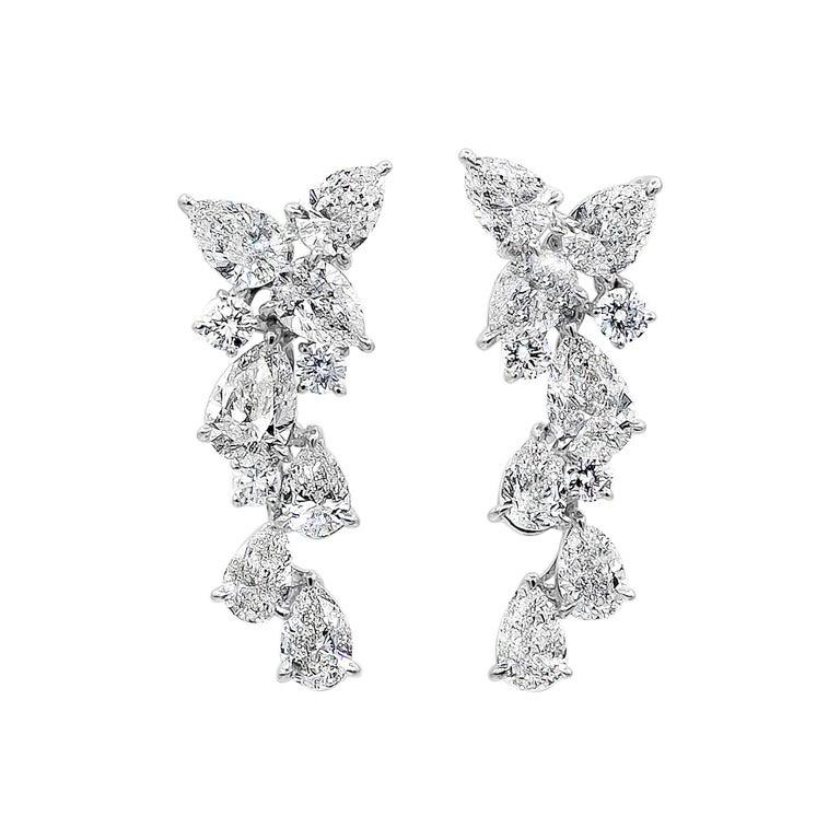 4.63 Carat Pear Shape Diamond Drop Earrings For Sale