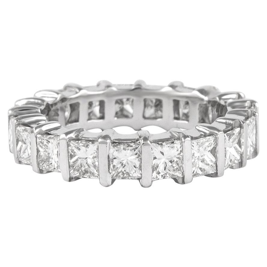 4.63 Carat Princess Cut Diamond Eternity Band Bezel Set 18 Karat White Gold