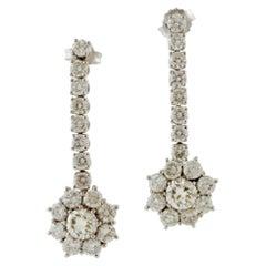 4.63 Carat White Diamonds, White Gold Flower Design Drop Earrings