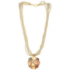 46.30 Carats Moonstone Flat Fresh Water Pearl and Diamond 18kt Gold Necklace