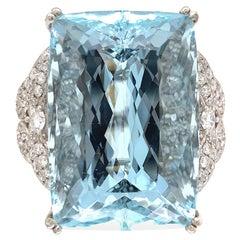 46.34 Carat Natural Aquamarine Diamond Gold Cocktail Ring Estate Fine Jewelry