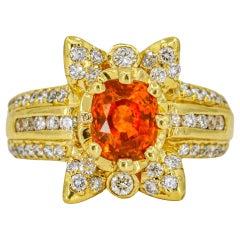 4.64 Carat 18 Karat Yellow Gold Orange Sapphire Diamond Cocktail Ring