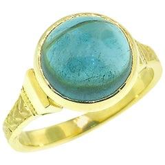 4.64 Carat Blue Tourmaline 'Indicolite' in 18 Karat Custom Cassandra Ring