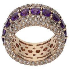 4.64 Carat Brown Diamonds 3.37 Carat Amethyst 18kt Pink Gold Fashion Band Ring