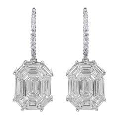 "18 Karat White Gold 4.64 Carat Diamond Emerald Pie-Cut ""Illusion"" Drop Earrings"