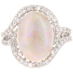 4.64 Carat Opal Diamond 14 Karat White Gold Ring