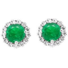 4.64 Carat Round Emerald and Diamond Stud Earrings 18 Karat White Gold
