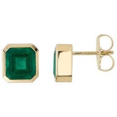 4.65 Carat Asscher Cut Emeralds Set in 18 Karat Yellow Gold Stud Earrings