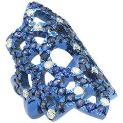 4.65 Carat Blue Sapphires and Diamonds Titanium Ring Blue Anodic Color