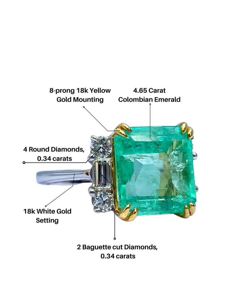 4.65 Carat Emerald-Cut Colombian Emerald and Diamond 18K Gold Ring For Sale 3