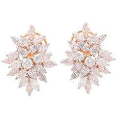 4.65 Carat Diamond 18 Karat Rose Gold Cluster Stud Earrings