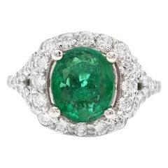 4.65 Carat Natural Emerald and Diamond 14 Karat Solid White Gold Ring