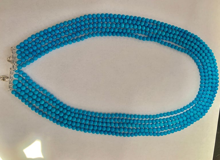 Round Cut 465 Carat Natural Sleeping Beauty Turquoise Necklace, Multi Strand 18 Karat Gold For Sale