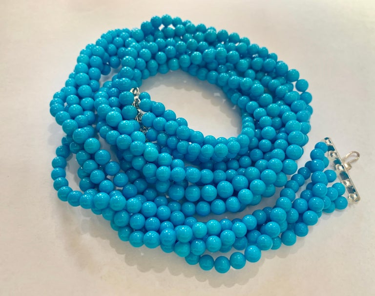465 Carat Natural Sleeping Beauty Turquoise Necklace, Multi Strand 18 Karat Gold For Sale 1