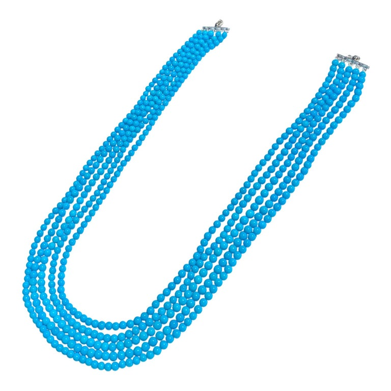 465 Carat Natural Sleeping Beauty Turquoise Necklace, Multi Strand 18 Karat Gold For Sale