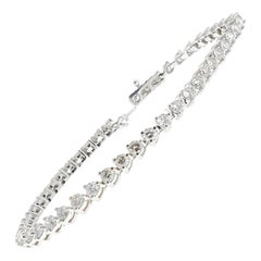 4.65 Carat Round Diamond Tennis Bracelet in 14 Karat White Gold