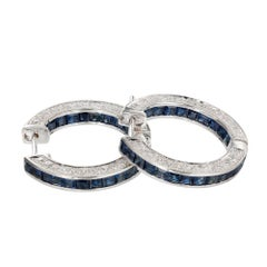 4.65 Carat Sapphire Diamond Inside Out Gold Hoop Earrings