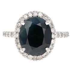 4.65 Carat Sapphire Diamond 14K White Gold Halo Ring