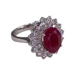 4.65 Ctw Ruby 18k White Gold Diamond Ring
