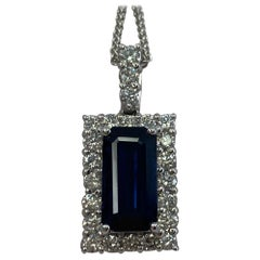 4.65ct Fine Royal Blue Emerald Cut Sapphire & Diamond Rectangle Platinum Pendant