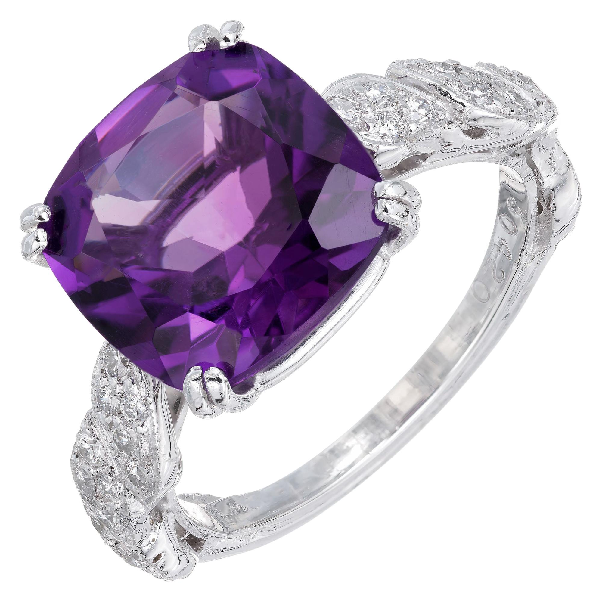 4.66 Carat Amethyst Diamond Platinum Cocktail Ring