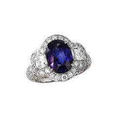 4.66 Carat Blue Sapphire Diamond Ring