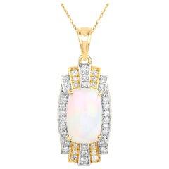 4.66 Carat Genuine Ethiopian Opal and White Diamond 14 Karat Yellow Gold Pendant