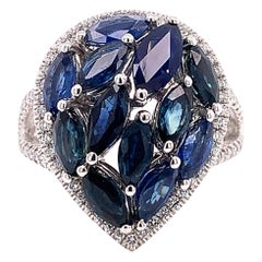 4.66 Carat Marquise Cut Blue Sapphire and Diamond Ring