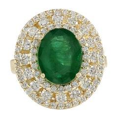 4.66 Carat Natural Emerald 18 Karat Yellow Gold Diamond Ring