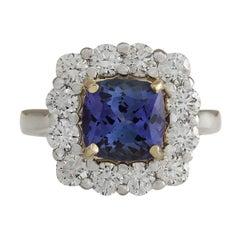4.66 Carat Natural Tanzanite 18 Karat Two-Tone Gold Diamond Ring