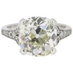 4.66 Carat Old European Cushion Cut Diamond Platinum Engagement Ring