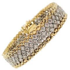 4.66 Carat Pave Diamond Flexible Mesh Bracelet 14 Karat Yellow and White Gold