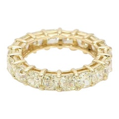 4.66 Carat Total Natural Yellow Diamond Square Radiant Cut Eternity Band