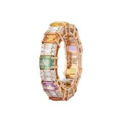 4.66 Carats Multi Sapphire Diamond 18 Karat Gold Ring
