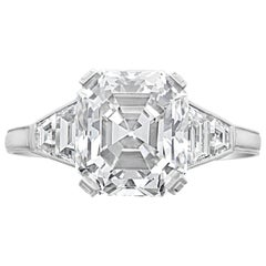 4.66ct H VS2 Old Asscher Cut Diamond Ring with Trapezoid Diamonds by Hancocks