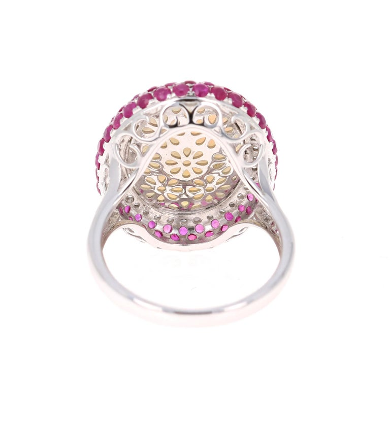 Oval Cut 4.67 Carat Opal, Pink Sapphire, and Diamond 18 Karat White Gold Cocktail Ring For Sale