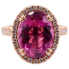 4.67 Carat Oval Pink Tourmaline and White Diamond Color Ring in 18 Karat Gold