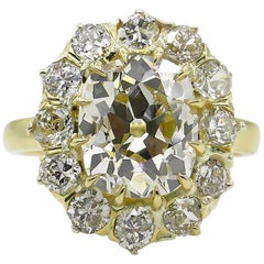 4.67 Carat Old Mine Cushion Diamond Cluster Engagement Ring EGL, USA