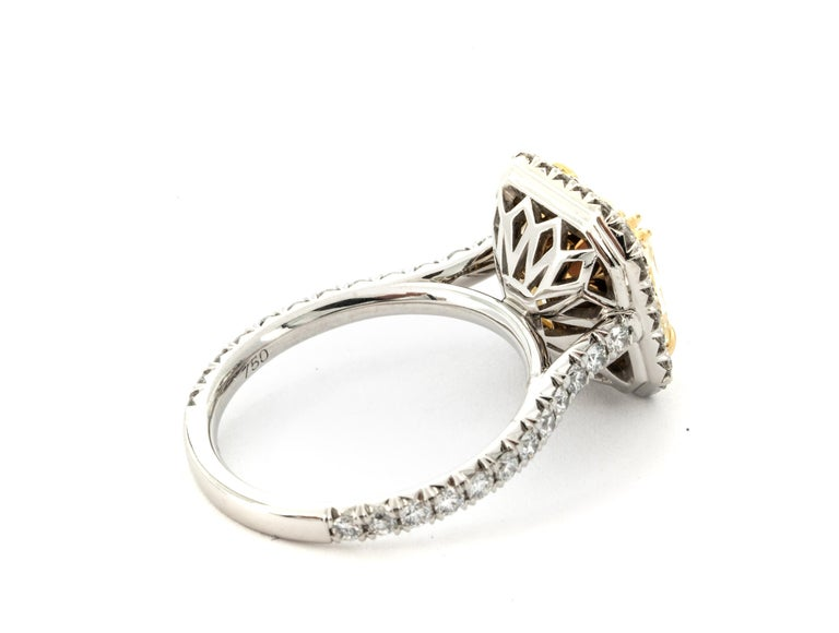 """Contemporary 4.68 Carat Fancy Yellow """"GIA"""" Radiant Cut Diamond Ring by the Diamond Oak For Sale"""