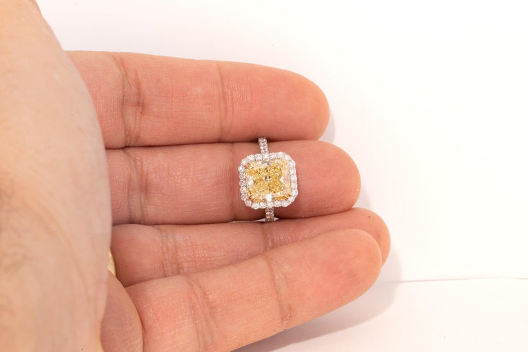 "Women's 4.68 Carat Fancy Yellow ""GIA"" Radiant Cut Diamond Ring by the Diamond Oak For Sale"
